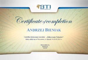 certyfikat A. Bieniak